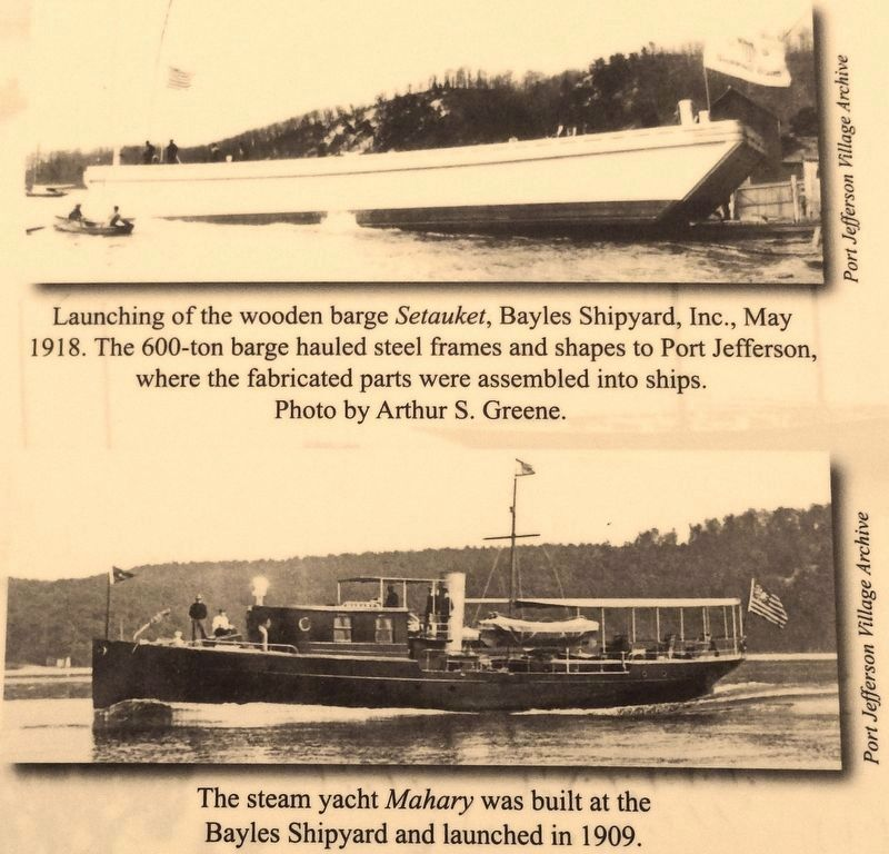 Marker detail: barge <i>Setauket</i> & steam yacht <i>Mahary</i> image. Click for full size.