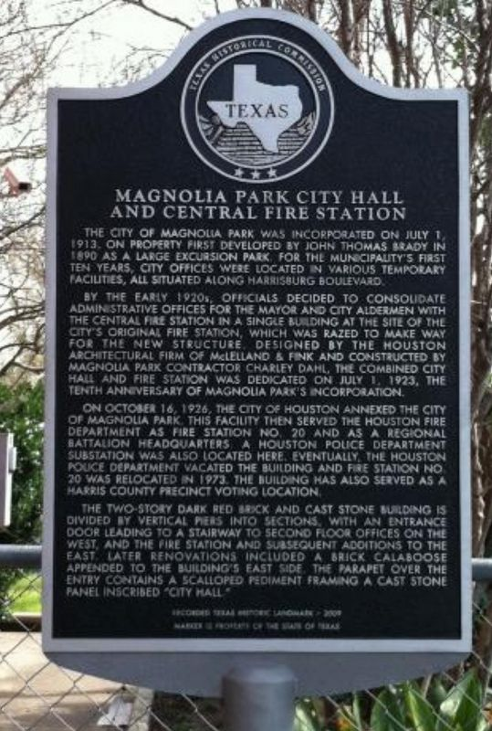 Magnolia Park City Hall and Central Fire Station Marker image. Click for full size.
