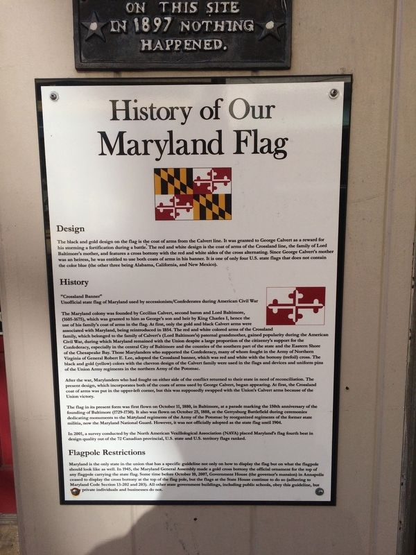 History of Our Maryland Flag Marker image. Click for full size.