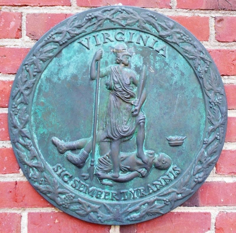 Detail of the Seal of Virginia. image. Click for full size.