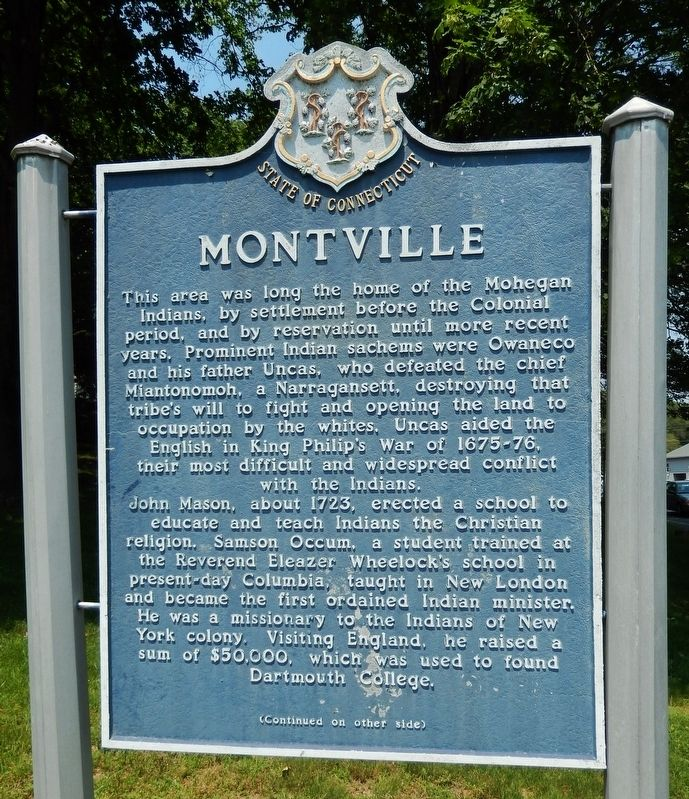 Montville Marker (<i>side 1</i>) image. Click for full size.