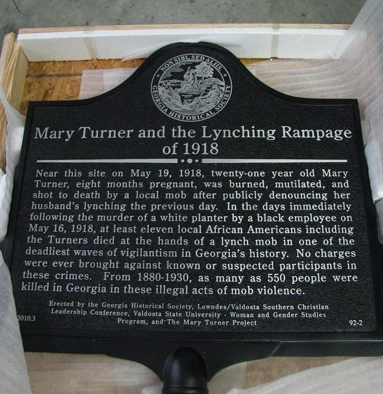 Mary Turner and the Lynching Rampage of 1918 Marker image. Click for full size.