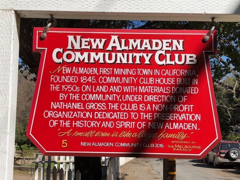 New Almaden Community Club Marker image. Click for full size.