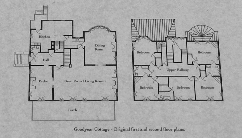Marker detail: Goodyear Cottage original floor plan image. Click for full size.