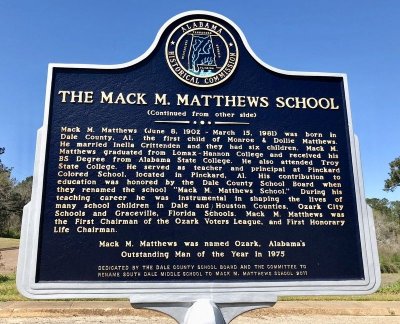 The Mack M. Matthews School Marker (rear) image. Click for full size.