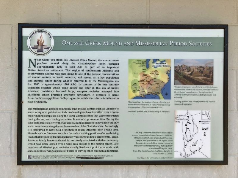 Omussee Creek Mound and Mississippian Period Societies Marker image. Click for full size.