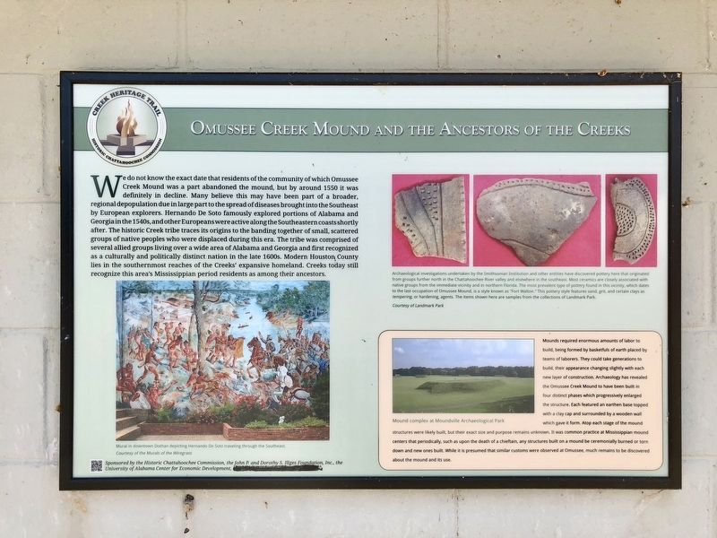 Omussee Creek Mound and the Ancestors of the Creek Marker image. Click for full size.