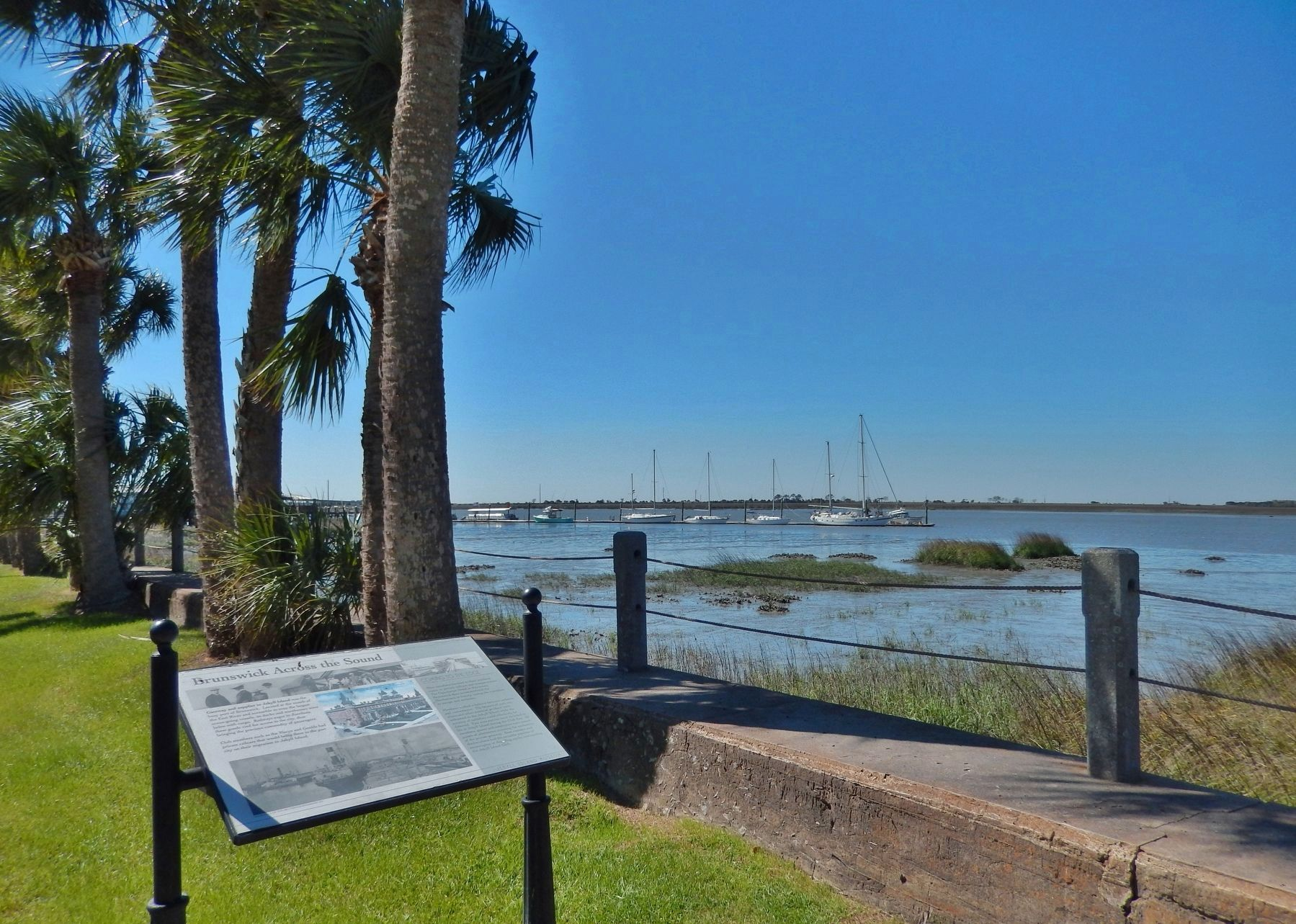 Brunswick Across the Sound Marker (<i>wide view; Jekyll Creek to the right</i>) image. Click for full size.