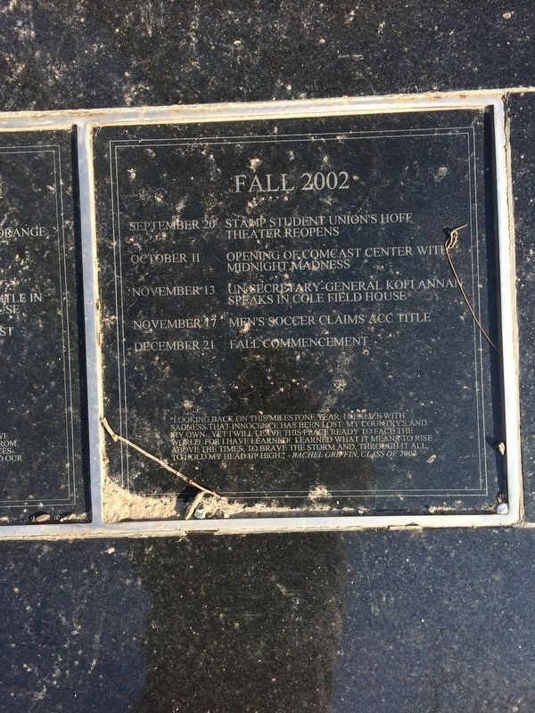 Class of 2002 Marker, Fall 2002 Plaque image. Click for full size.