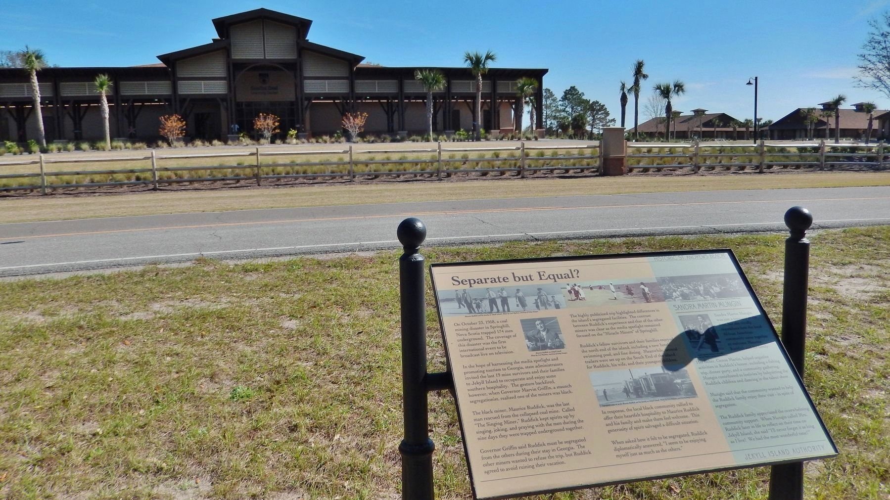 Separate But Equal? Marker (<i>wide view; Camp Jekyll in background, across highway</i>) image. Click for full size.