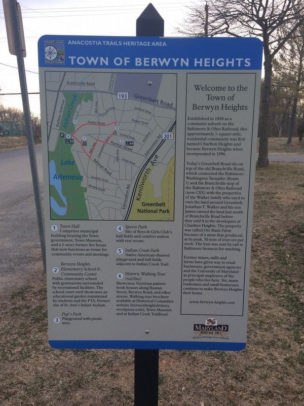 Town of Berwyn Heights Marker image. Click for full size.