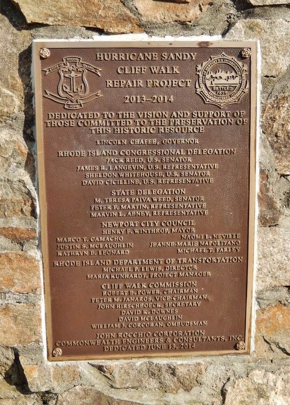 Cliff Walk Trail: Hurricane Sandy Repair Plaque (<i>near marker</i>) image. Click for full size.