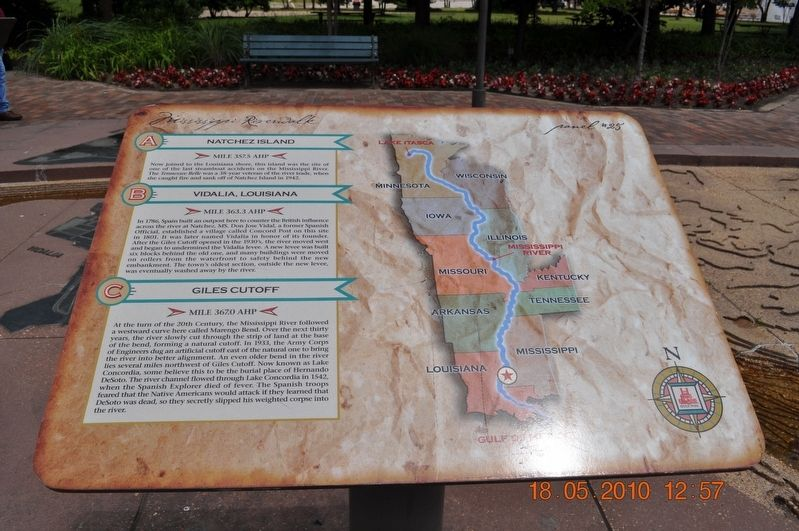 Natchez Island/Vidalia, Louisiana /Giles Cutoff Marker image. Click for full size.