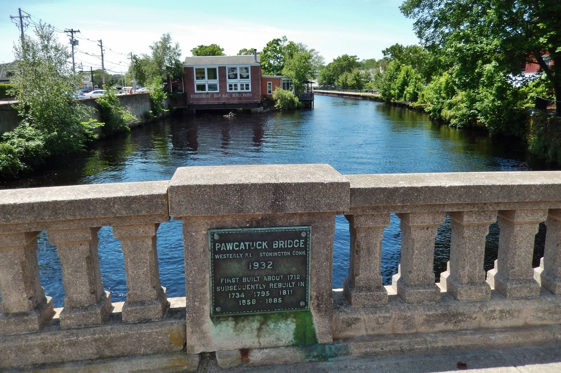 Pawcatuck Bridge Marker (<i>wide view; looking south across bridge railing</i>) image. Click for full size.