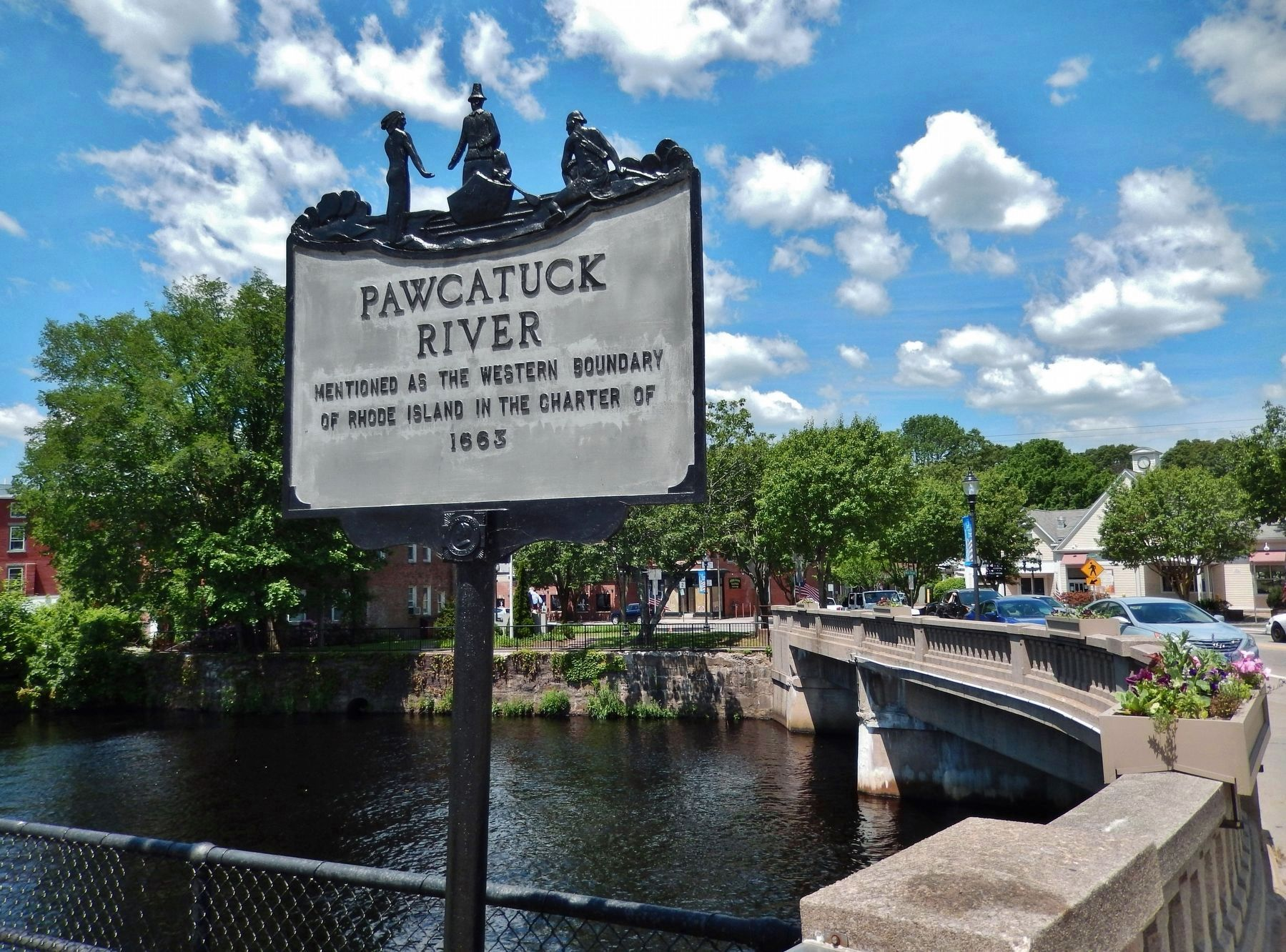 Pawcatuck River Marker (<i>wide view; looking west across Pawcatuck River Bridge to Connecticut</i>) image. Click for full size.