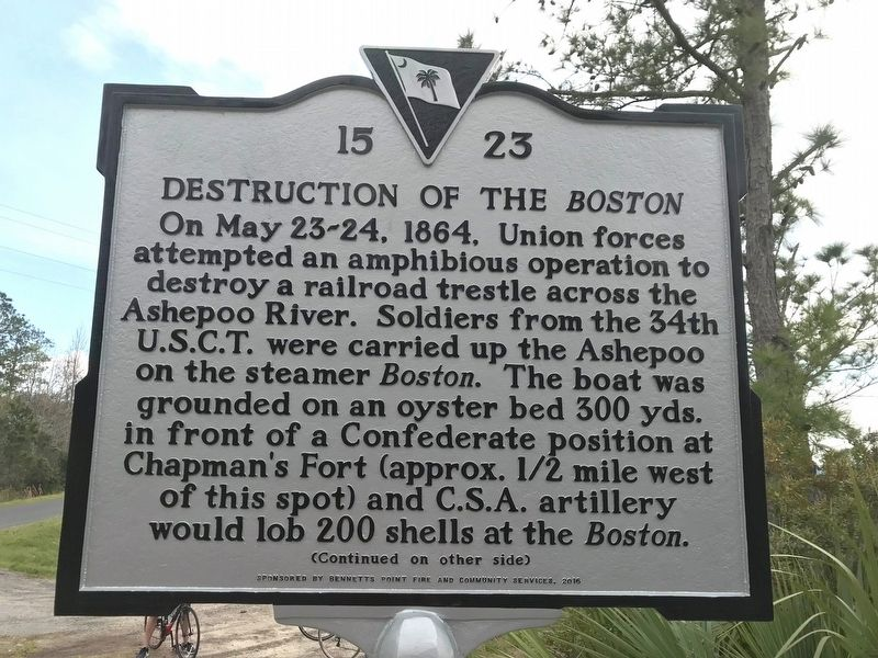 Destruction of the <i>Boston</i> Marker, Side One image. Click for full size.