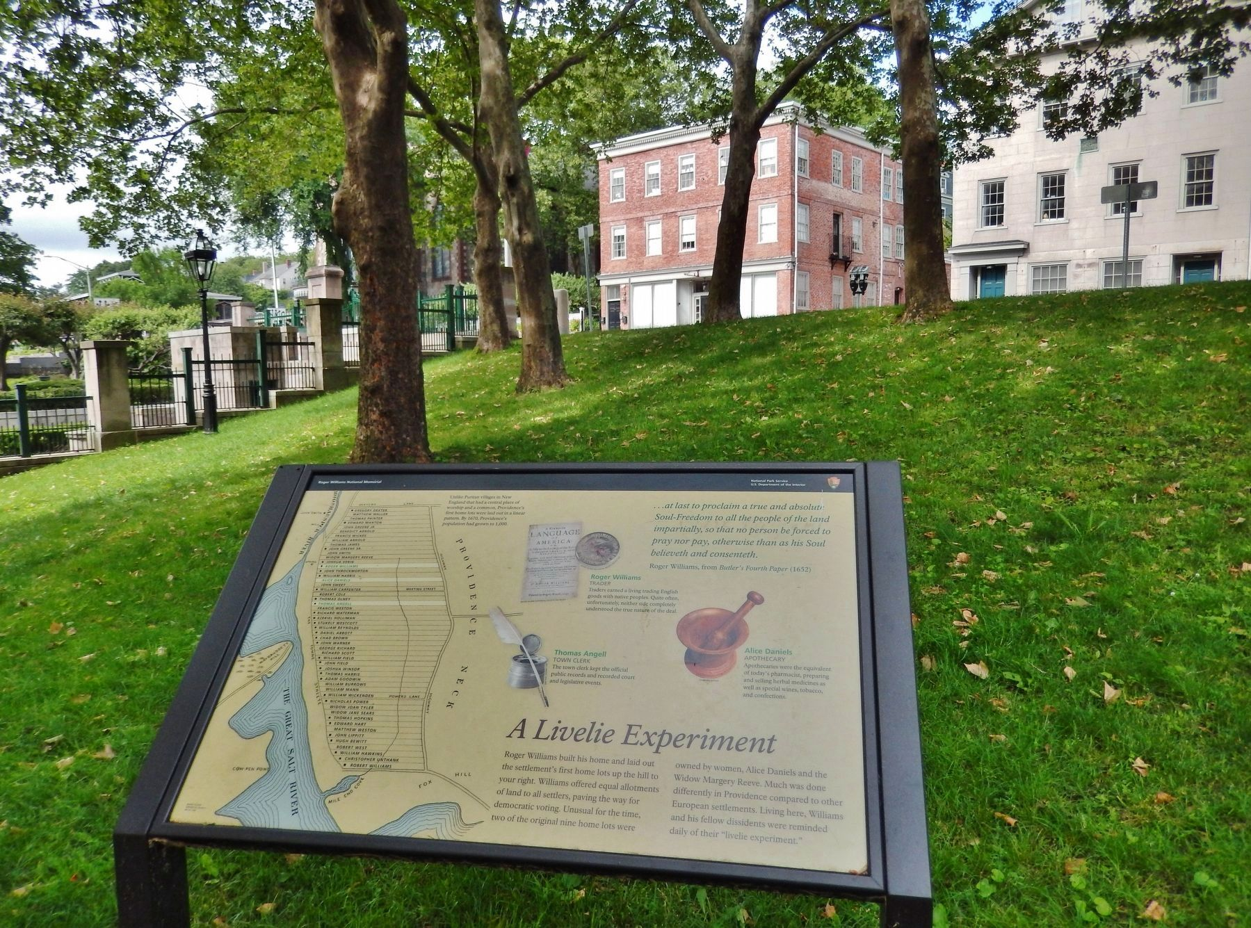 A Livelie Experiment Marker (<i>wide view; looking uphill through park toward Main Street</i>) image. Click for full size.