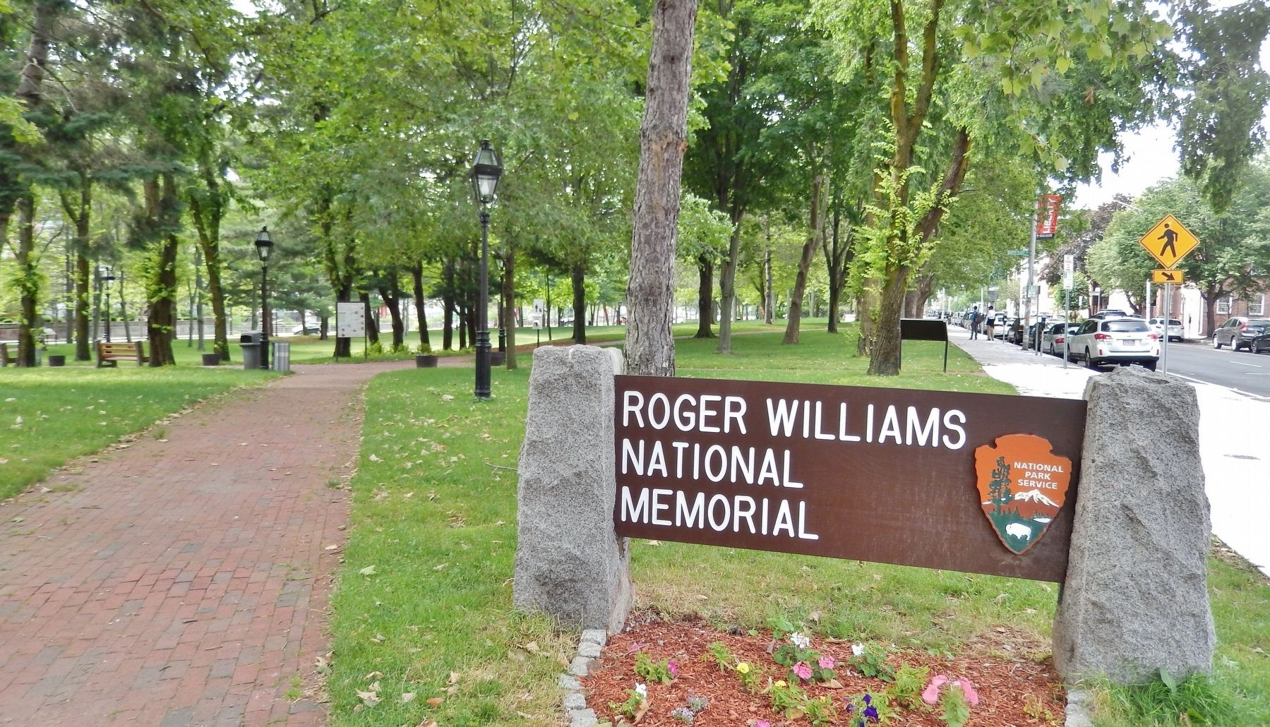 Roger Williams National Memorial Sign (<i>marker visible beside path in background</i>) image. Click for full size.