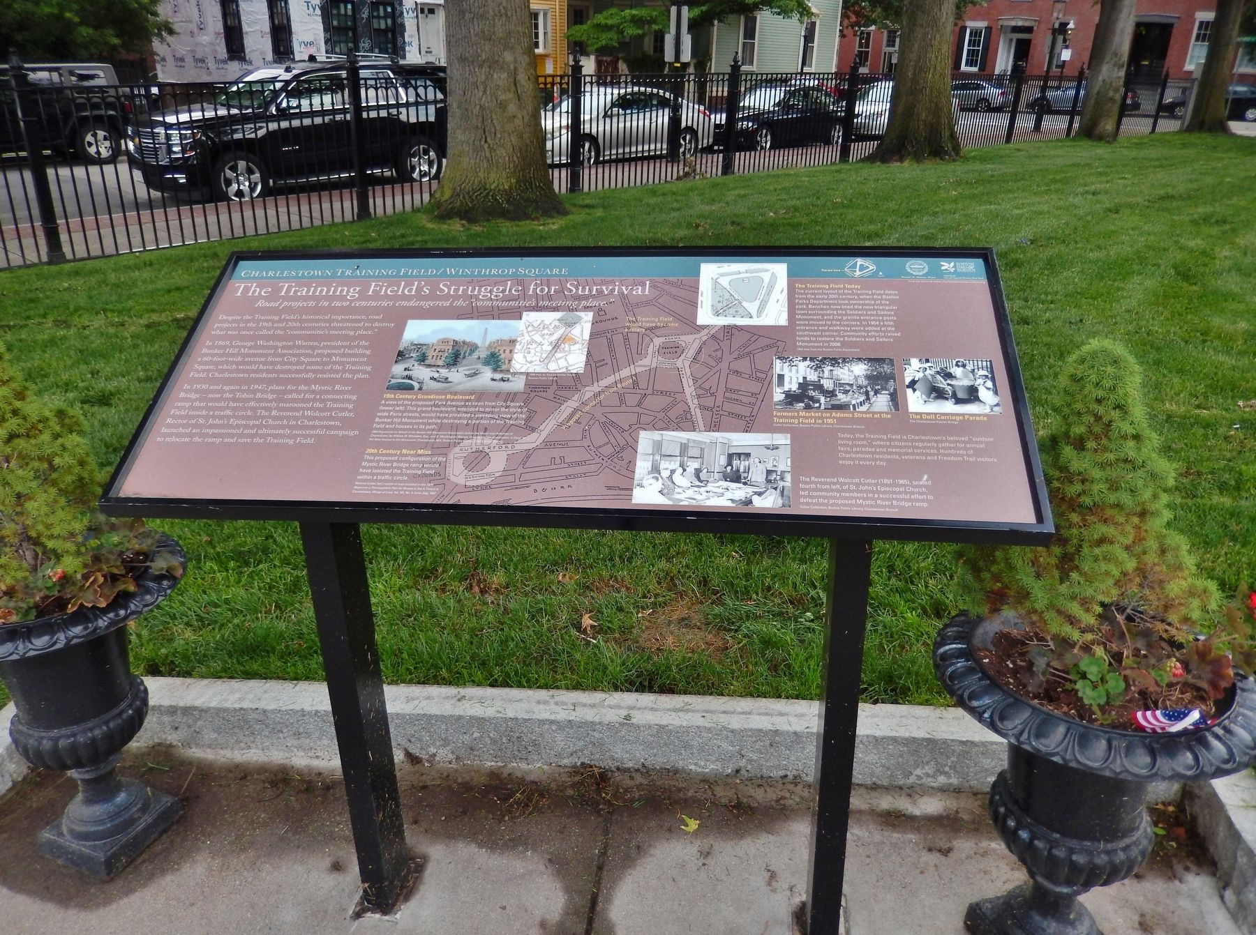 Charlestown Training Field/Winthrop Square Marker (<i>wide view</i>) image. Click for full size.