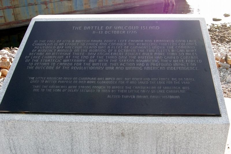 The Battle of Valcour Island Marker image. Click for full size.
