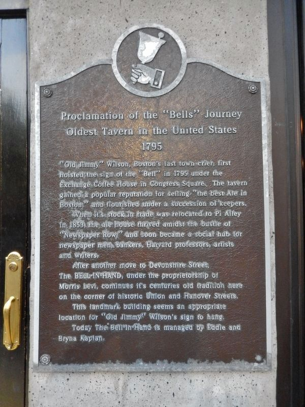 "Proclamation of the ""Bells"" Journey Marker (<i>tall view; tavern entrance beside marker at left</i>) image. Click for full size."