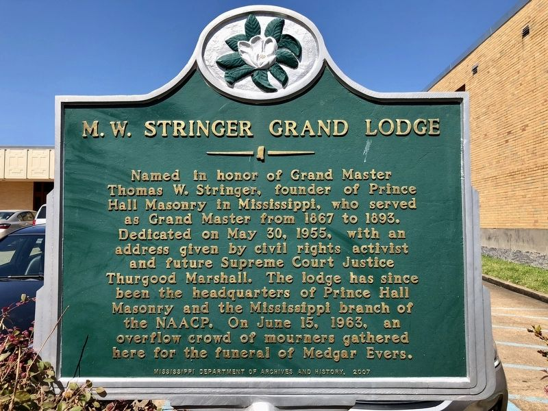 M.W. Stringer Grand Lodge Marker image. Click for full size.