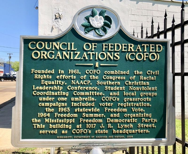 Council of Federated Organizations (COFO) Marker image. Click for full size.