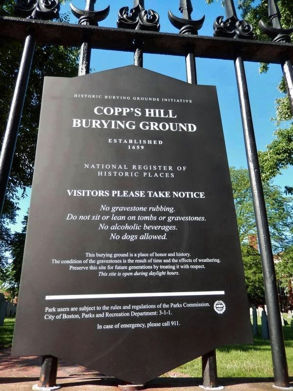 Copp's Hill Burying Ground, National Register of Historic Places image. Click for full size.