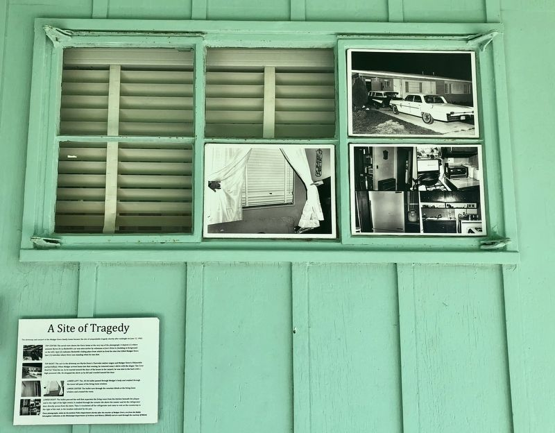 Photos and marker, in carport, of the assassination area. image. Click for full size.