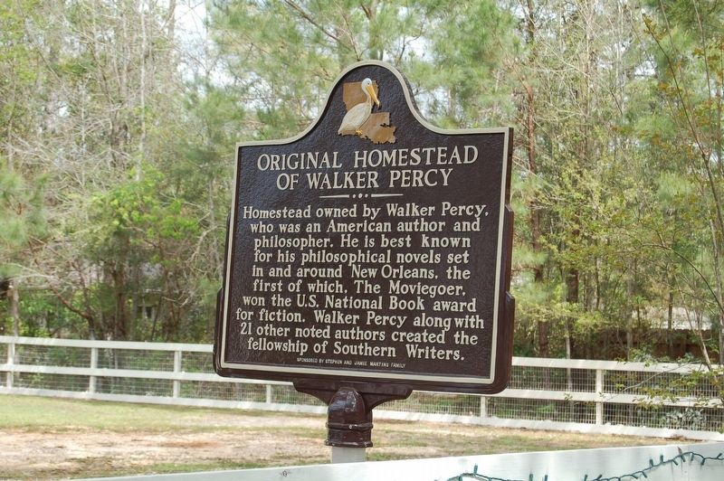 Original Homestead of Walker Percy Marker image. Click for full size.