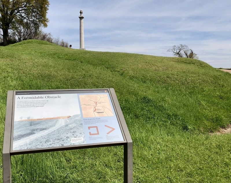Marker and part of the redoubt with the Louisiana Monument in background. image. Click for full size.