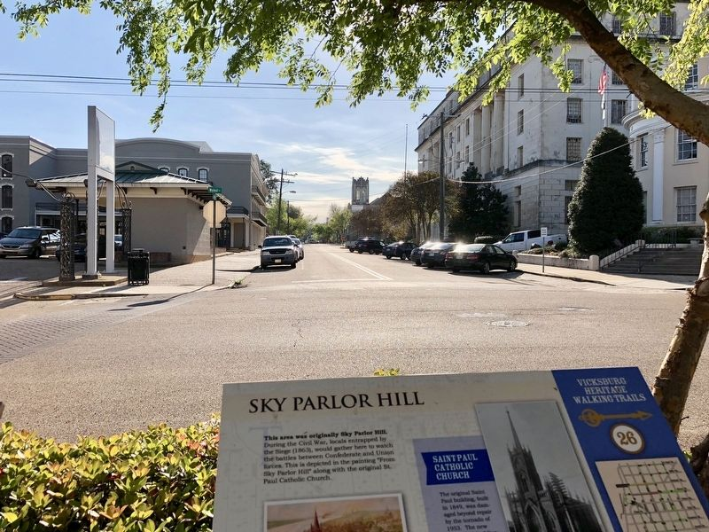 Sky Parlor Hill Marker with St. Paul Catholic Church in far background. image. Click for full size.