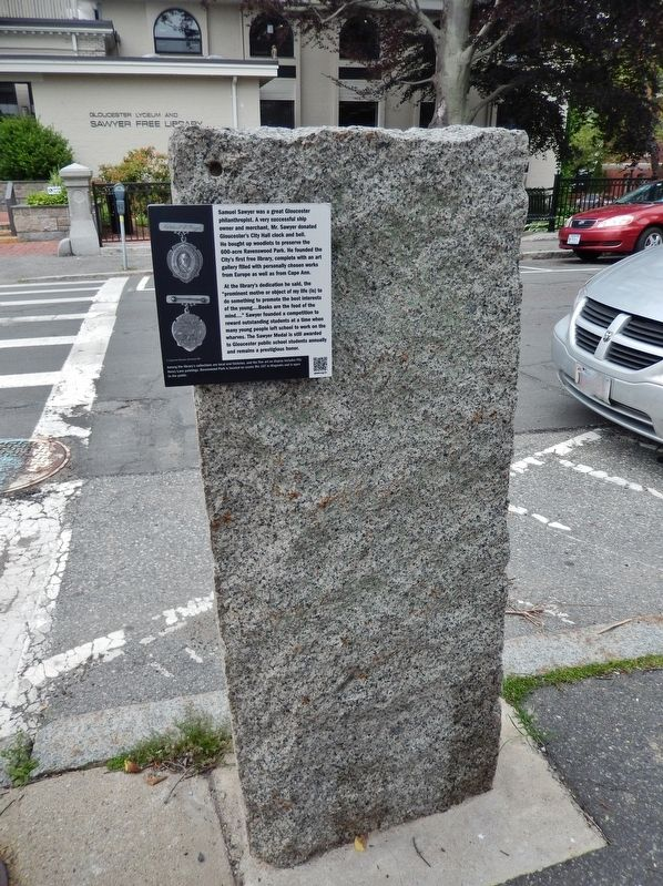 Samuel Sawyer Marker (<i>tall view; Sawyer Free Library in background</i>) image. Click for full size.