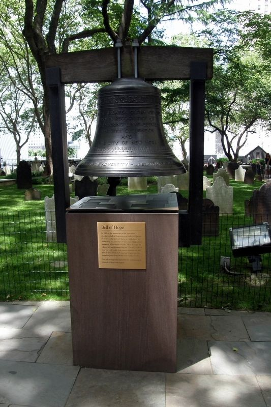 The Bell of Hope and marker image. Click for full size.