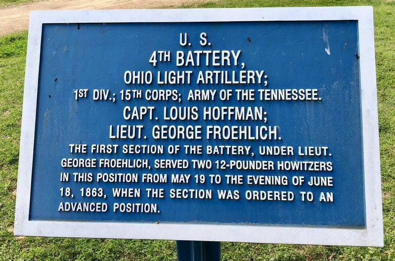 U.S. 4th Battery, Ohio Light Artillery; Marker image. Click for full size.