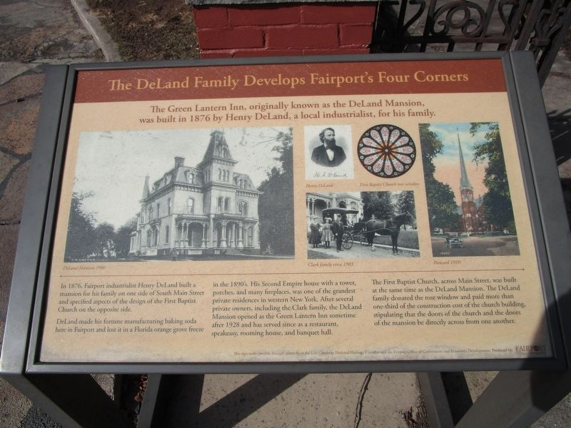The DeLand Family Develops Fairport's Four Corners Marker image. Click for full size.
