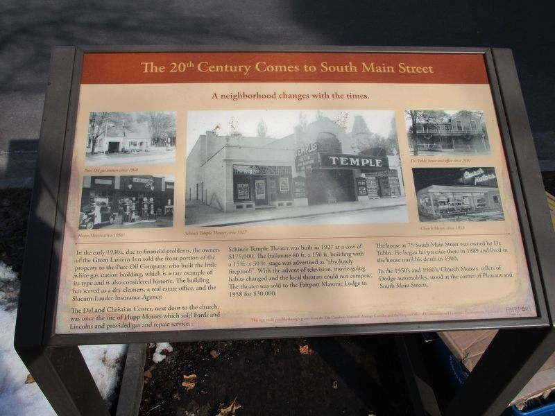 The 20th Century Comes to South Main Street Marker image. Click for full size.