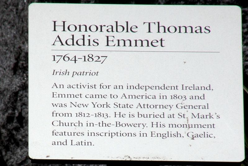 Honorable Thomas Addis Emmet Marker image. Click for full size.
