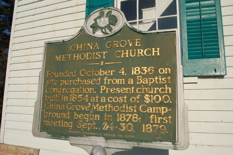 China Grove Methodist Church Marker image. Click for full size.