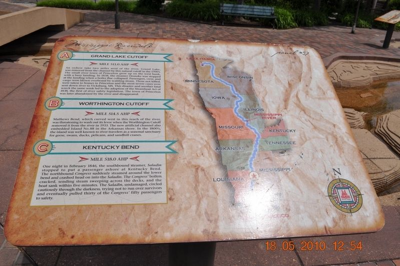 Grand Lake Cutoff/Worthington Cutoff/Kentucky Bend Marker image. Click for full size.