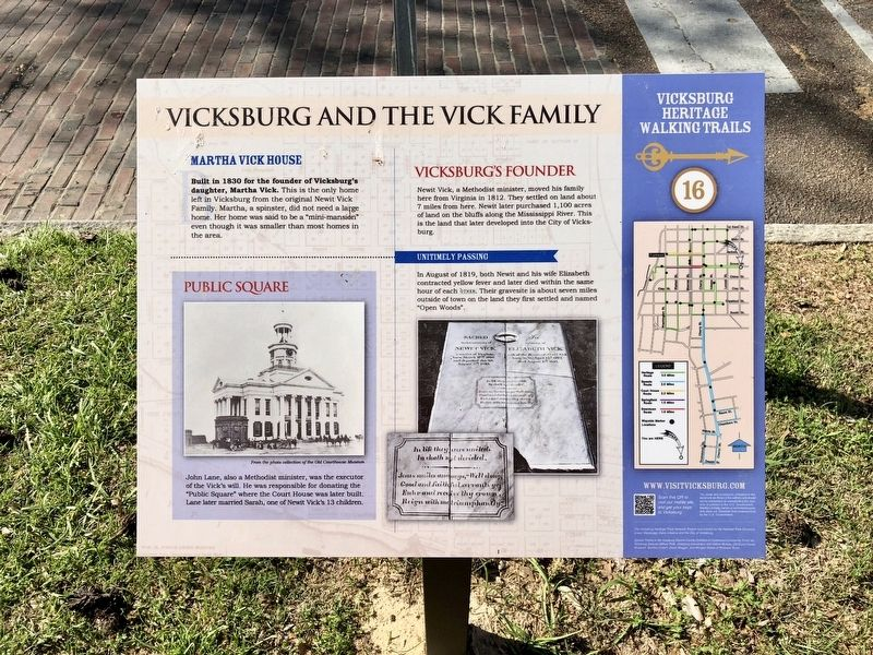 Vicksburg and the Vick Family Marker image. Click for full size.