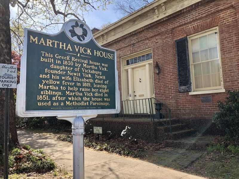 A Martha Vick House marker near her home. image. Click for full size.