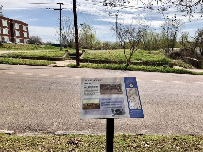 View across from marker where railroad depot and round house was built. image. Click for full size.