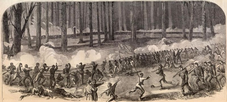Sketch of Logan's Division Battling the Confederates Near Fourteen Mile Creek. image. Click for full size.