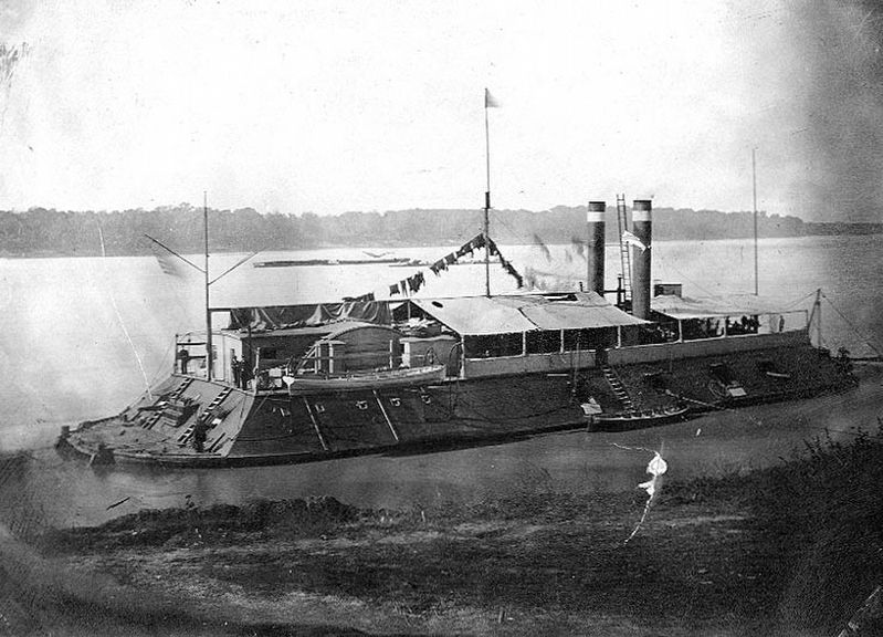 The <i>USS Cincinnati</i>, photographed on the Western Rivers in 1862-63. image. Click for full size.