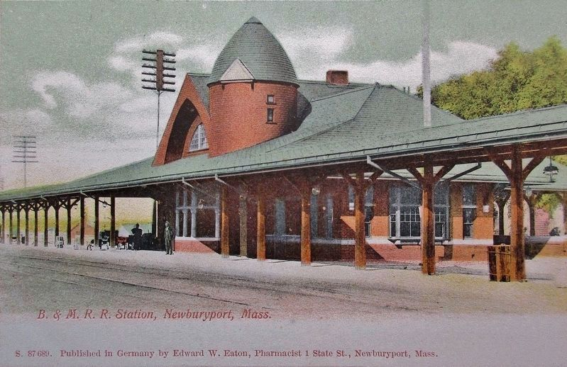 The third (1892-built) Newburyport station in the early 20th century image. Click for full size.