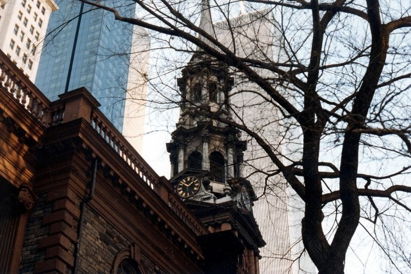 St. Paul's Chapel steeple and the Twin Towers beyond image. Click for full size.
