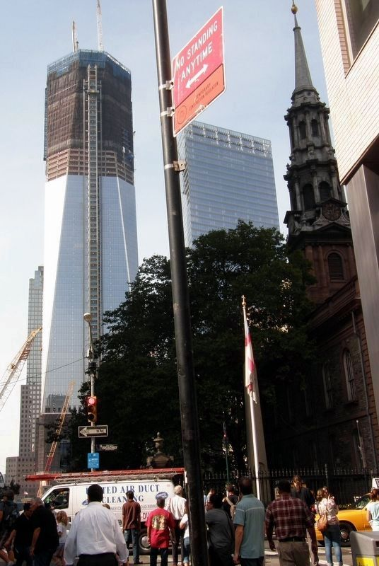 St. Paul's Chapel - One World Trade Center tower rising beyond image. Click for full size.