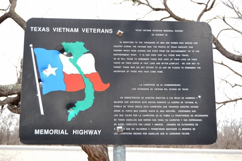 Texas Vietnam Veterans Memorial Highway Marker image. Click for full size.