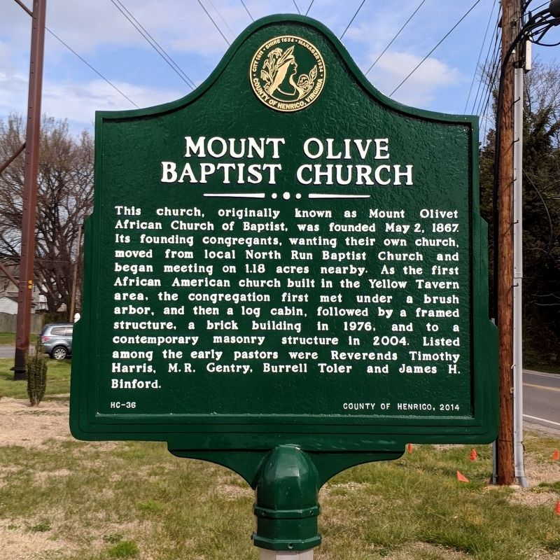 Mount Olive Baptist Church Marker image. Click for full size.